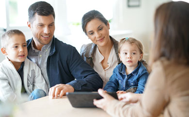 Picture of a young family getting financial advice